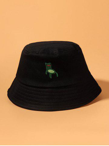 Embroidered Cartoon Frog Bucket Hat - BLACK