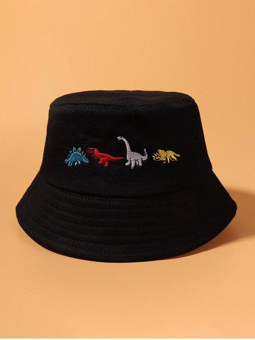 Embroidered Dinosaur Pattern Bucket Hat