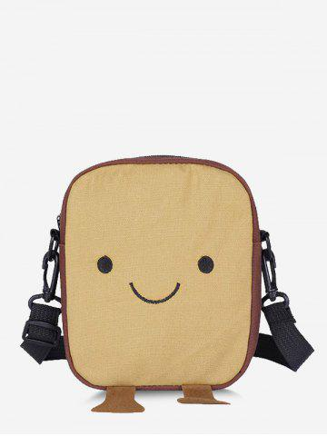 Lovely Smiling Face Crossbody Bag - LIGHT KHAKI