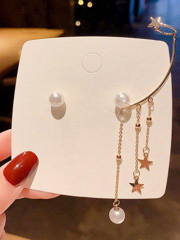 Faux Pearl Star Cuff Asymmetric Stud Earrings