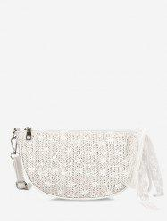 Floral Woven Lace Crossbody Bag -