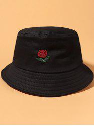 Classic Rose Embroidered Bucket Hat -