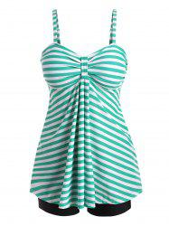 Knotted Striped Empire Waist Tankini Swimwear -
