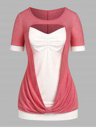 Plus Size Ruched Cutout  2 in 1 Tee -