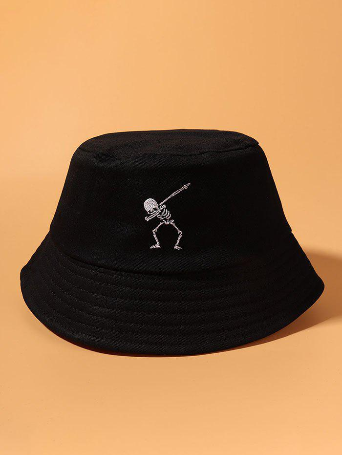 Latest Embroidery Skeleton Pattern Bucket Hat