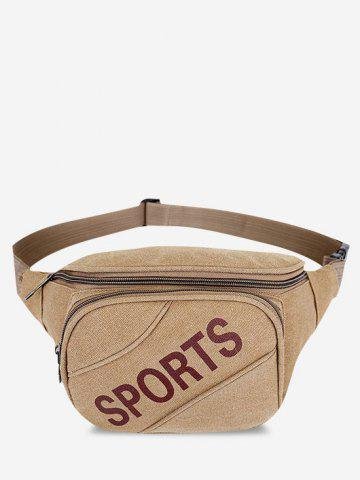 Letters Pattern Phone Canvas Waist Bag - LIGHT KHAKI