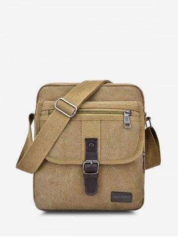 Retro Canvas Wear-resistant Messenger Bag - LIGHT KHAKI