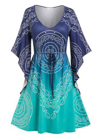 Plus Size Drawstring Butterfly Sleeve Paisley Print Dress