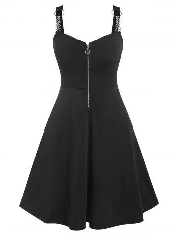 Plus Size Chains Zippered Vintage Flare Dress