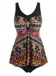 Metal Embellished Ethnic Flower Tankini Swimwear -