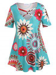 Plus Size Twisted Floral Print Tee -
