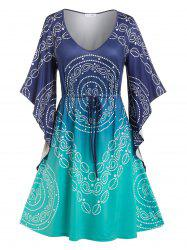 Plus Size Drawstring Butterfly Sleeve Paisley Print Dress -