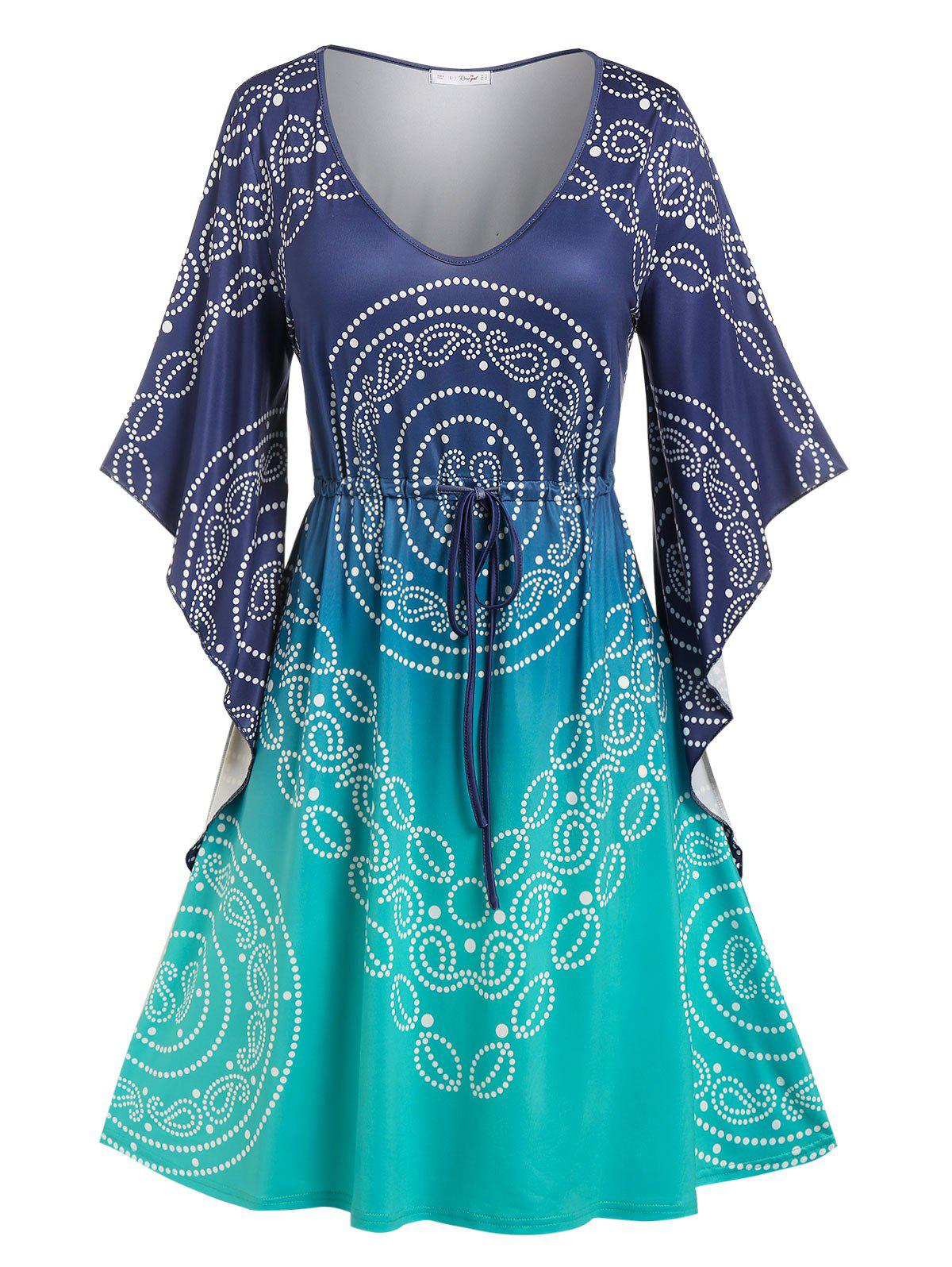 Sale Plus Size Drawstring Butterfly Sleeve Paisley Print Dress