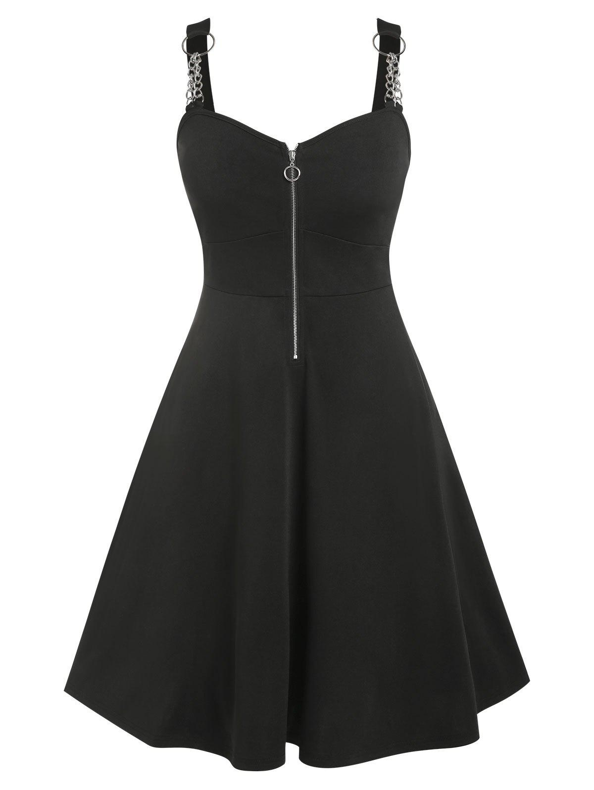 Fancy Plus Size Chains Zippered Vintage Flare Dress