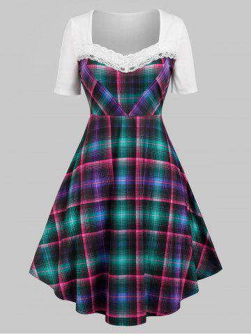 Plus Size Plaid Lace Panel A Line High Rise Dress
