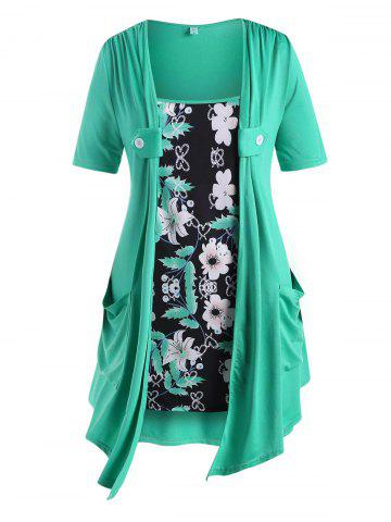 Dual Pocket Buttoned Floral Panel Plus Size Top - GREEN - 2X