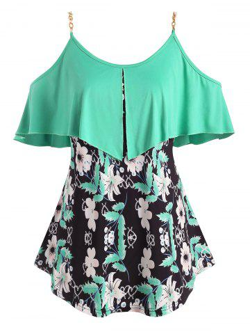 Foldover Metallic Ring Floral Cold Shoulder Plus Size Top - GREEN - 2X