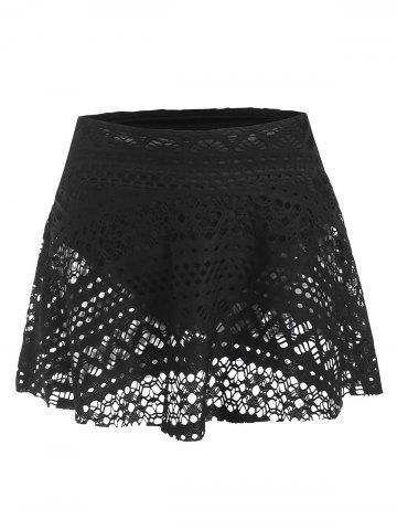 Skirted Guipure Lace Swim Bottom - BLACK - 2XL