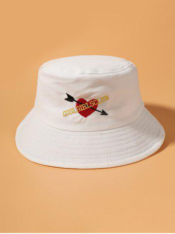 Embroidered Graphic Arrow Heart Bucket Hat - WHITE