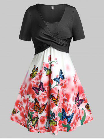 Plus Size Butterfly Floral Print Crossover Dress