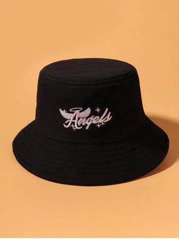 Angel Wing Letters Pattern Embroidered Bucket Hat - BLACK