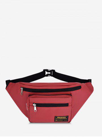 Casual Letter Label Outdoor Waist Bag - RED