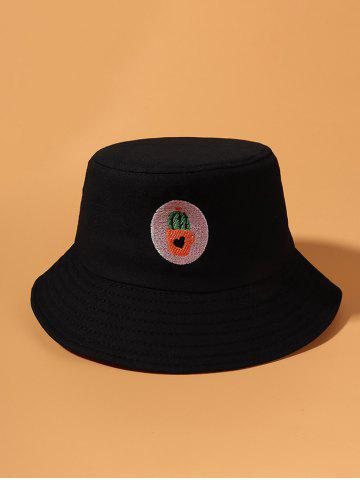 Heart Cactus Embroidered Bucket Hat - BLACK