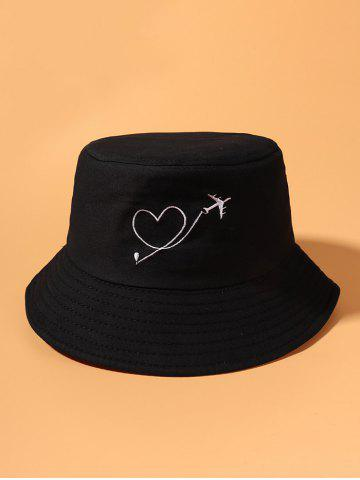 Aircraft Heart Embroidery Pattern Bucket Hat - BLACK