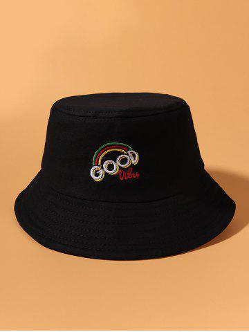 Letter Rainbow Embroidery Bucket Hat