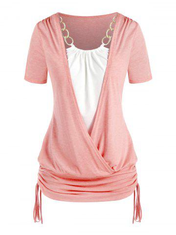 Plus Size Chains Surplice Cinched Ruched Tie Bicolor Tee - LIGHT PINK - L