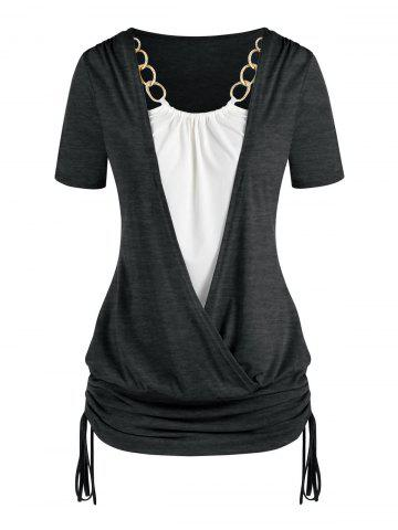 Plus Size Chains Surplice Cinched Ruched Tie Bicolor Tee - GRAY - 1X