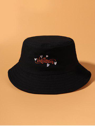 Embroidered Valentines Heart Pattern Bucket Hat