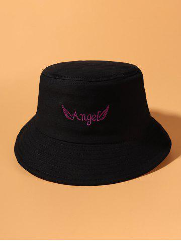 Angel Wing Pattern Embroidered Bucket Hat - BLACK