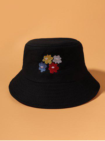 Colored Flowers Embroidered Bucket Hat - BLACK