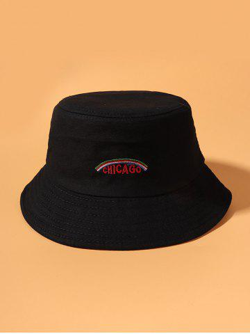 Embroidered Graphic Rainbow Bucket Hat - BLACK