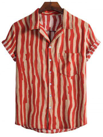 Irregular Stripe Pattern Short Sleeve Shirt - RED - XL