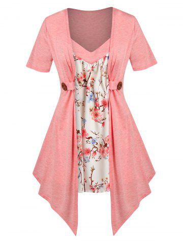 Plus Size Faux Twinset Floral Print Irregular Tee - LIGHT PINK - 1X