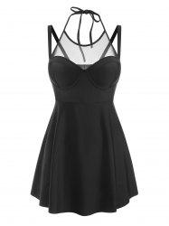 Mesh Insert Push Up Skirted Tankini Swimwear -