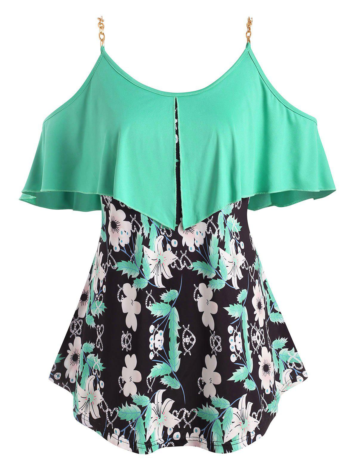 Trendy Foldover Metallic Ring Floral Cold Shoulder Plus Size Top