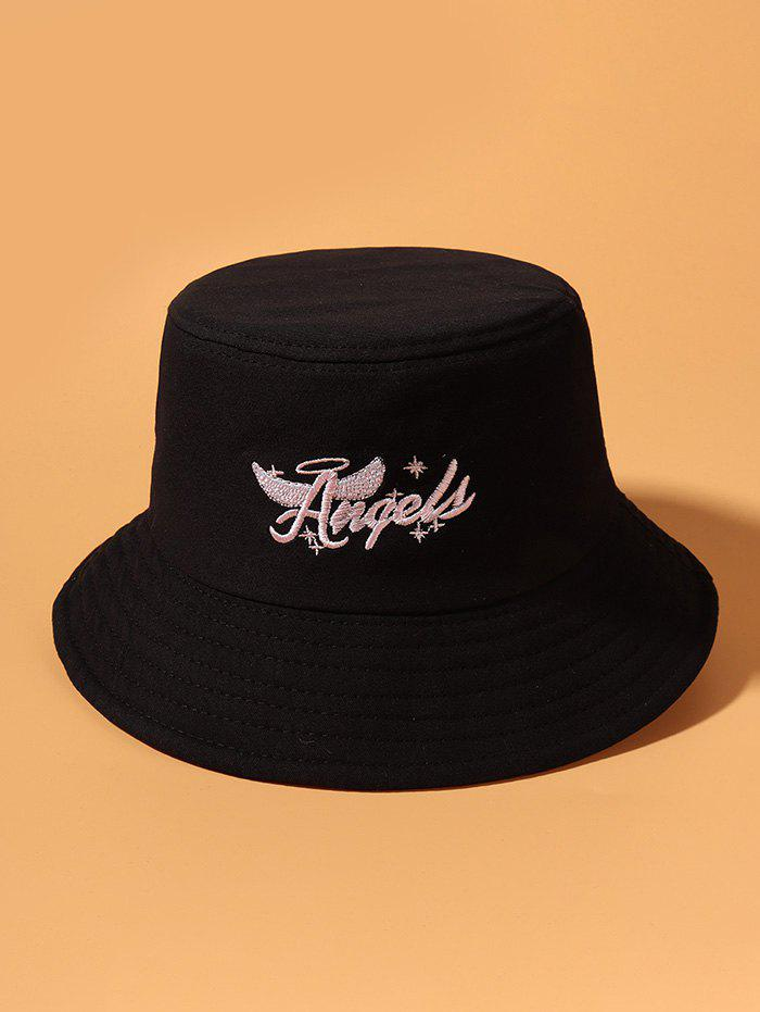 Fashion Angel Wing Letters Pattern Embroidered Bucket Hat