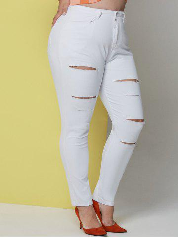 Solid Ladder Cutout Plus Size Skinny Pants