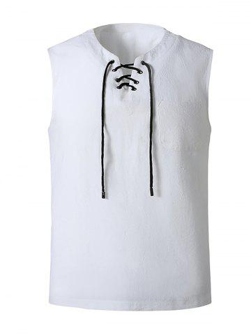Lace-up Front Pocket Tank Top - WHITE - XL