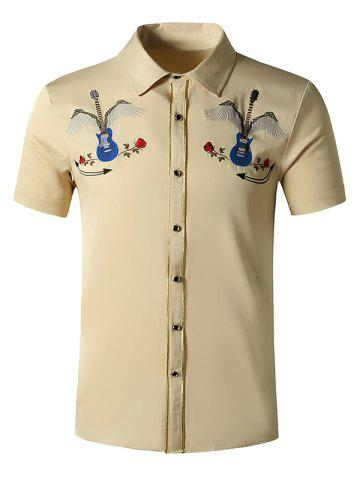 Guitar Rose Flowers Embroidered Metallic Thread Shirt - LIGHT KHAKI - XXL