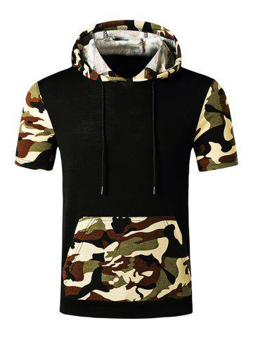 Hooded Camouflage Print Kangaroo Pocket T-shirt - BLACK - XL