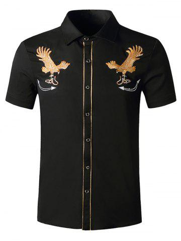 Snake Eagle Embroidered Button Up Shirt