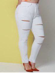 Solid Ladder Cutout Plus Size Skinny Pants -