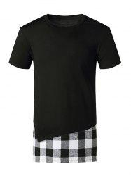 Plaid Print Side Slit Faux Twinset T-shirt -