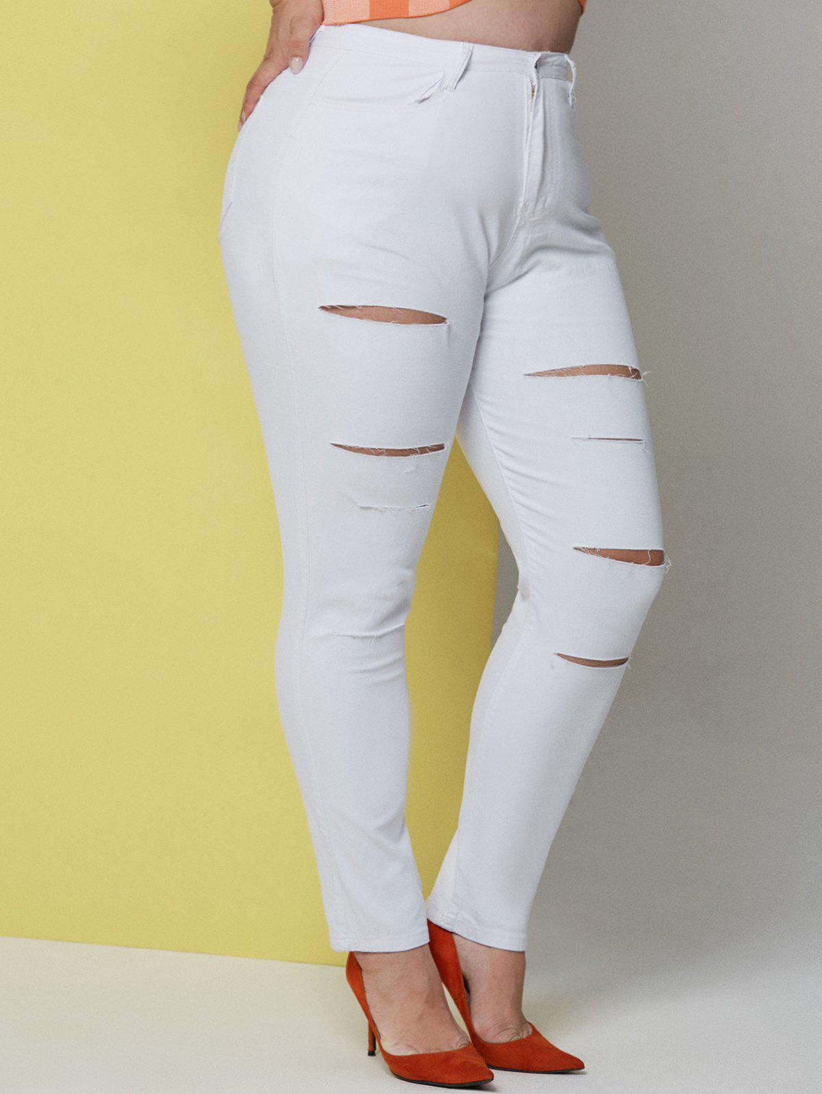 Online Solid Ladder Cutout Plus Size Skinny Pants