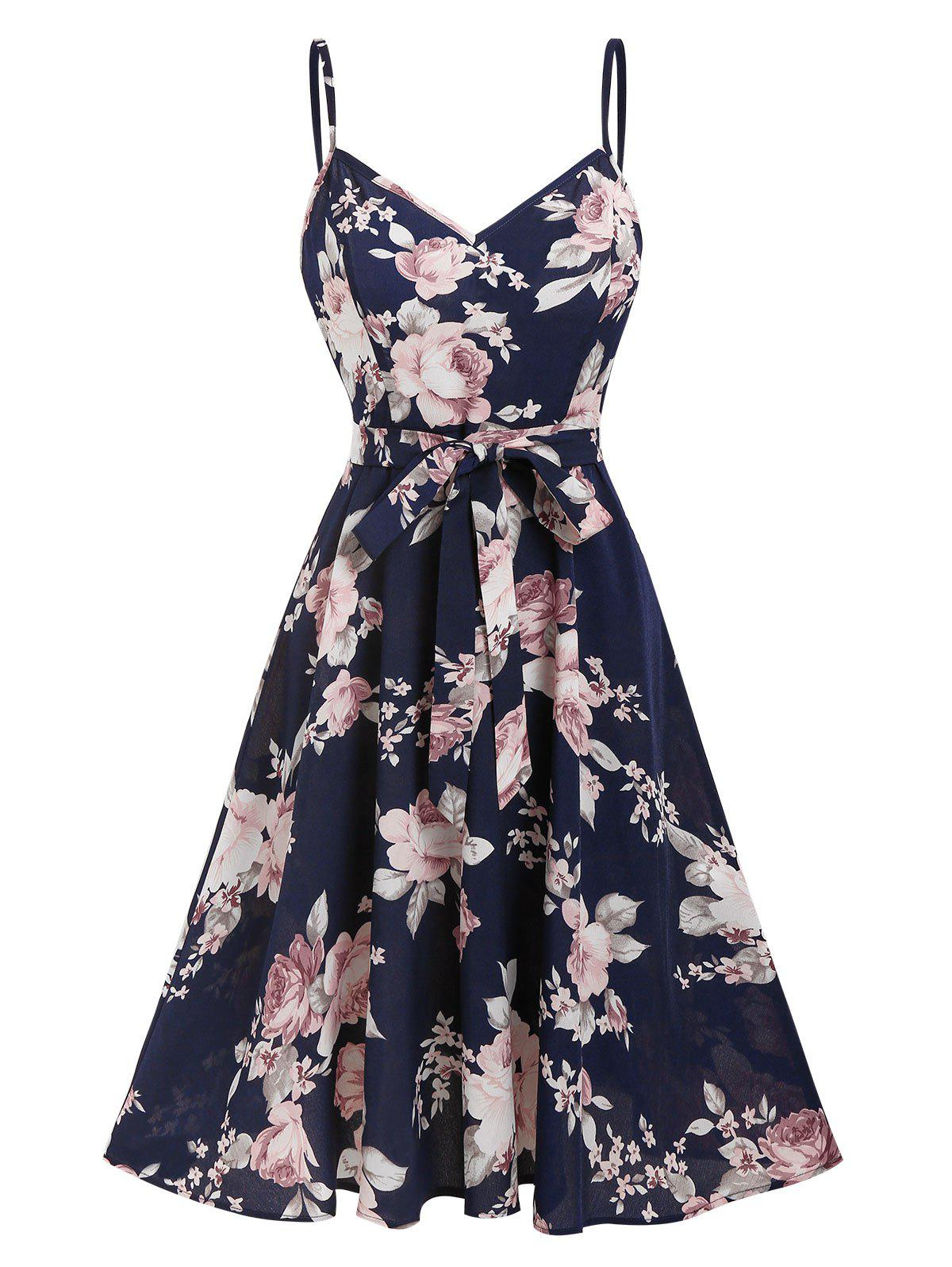 Fashion Bohemian Floral Print Belted Knee Length Dress