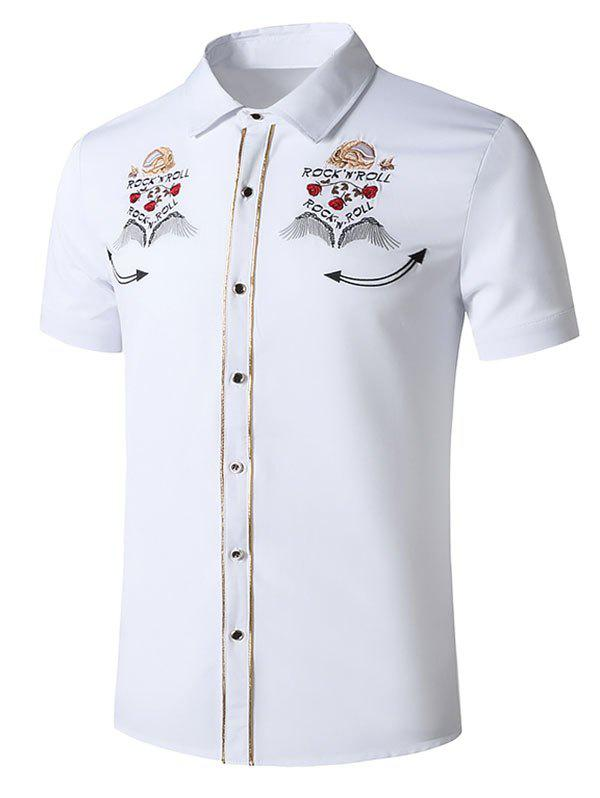 Outfit Skull Rose Flower Embroidered Metallic Thread Shirt